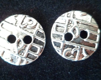 2 buttons sewing 2 hole 15 mm silver plated
