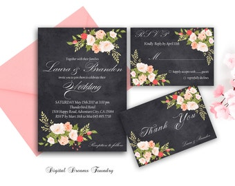 Blush Pink Floral Wedding Invitation Printable Chalkboard Wedding Invitation Set Boho Wedding Invitation Rustic Wedding Invitation