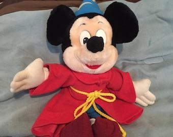 Mickey Mouse, plush Mickey Mouse, vintage plush Mickey Mouse, vintage Disney, Disney world, sorcerer 's apprentice Mickey, plush Fantasia
