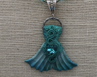 Mermaid Tail sculpted pendant glass beaded necklace. Airbrushed. Swarovski Crystal