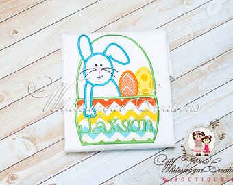 Easter Bunny Shirt for Boys, Bunny in Basket Shirt, Easter Personalized Outfit, Baby Boy Bunny Shirt, Bunny Shirt, Baby Boy Easter Outfit