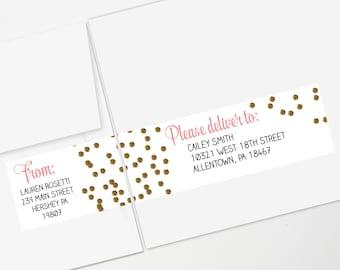 Gold Glitter Confetti Dots Wraparound Address Labels Printable Editable Form | INSTANT DOWNLOAD | Bridal Shower Invitation Label | Pink Gold