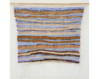 Large Handmade Tapestry Weaving Wall Hanging/Decor - Tan/Beige/White/Purple/Holographic Green Purple