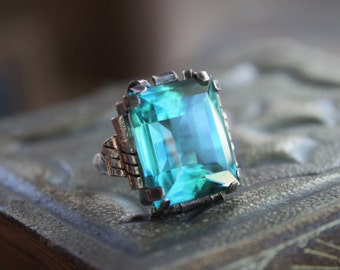Antique Teal and Sterling Arts and Crafts Statement Ring, circa 1900