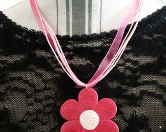 """""""Jeanne"""" model: organza and cord with pendant necklace polymer clay flower"""