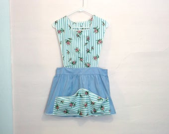 Vintage Aqua Shabby Rose Floral Striped Pinafore Apron