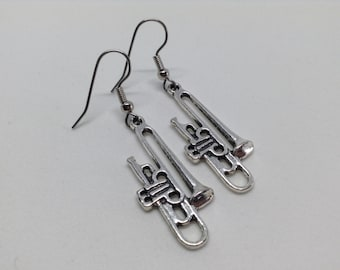 Silver Trombone earrings