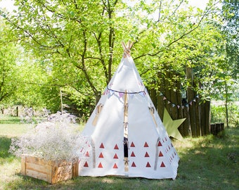 RUST Triangles Playhouse, 5 Poles, Kids tent, Teepee tent, Play Tent, Kids teepee, teepee for kids, tent for kids, boys playhouse, tent