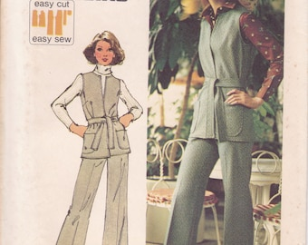 FREE US SHIP Simplicity 5858 Vintage Retro 1970's 70's Sewing Pattern Jiffy Knits  Wrap Vest Pantsuit Pants Bust 36 Size 14 Uncut Wide leg
