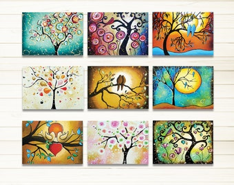 """Coworker Gift, ACEO Prints, Tree of Life Woodland Art Whimsical Folk Art, ATC Artist Trading Cards Set of 9 Signed Prints 2.5"""" x 3.5"""""""