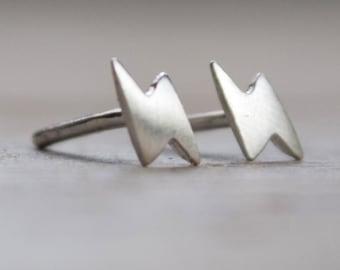 Tiny Lighting Bolt Earring Studs, Tiny Stud Earrings, Sterling Silver Earrings, Nose Studs, Upper Ear Studs