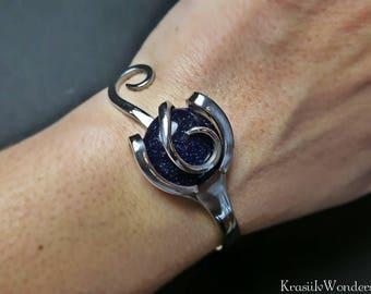 Metalwork bracelet, Blue sandstone, Fork cuff bracelet, Gift for wife, Anniversary gift, Steel anniversary, Stainless steel, Fork bangle