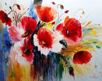 Flowers(70x100sm size, 350dollar, oil painting, roled in the tube, modern art)