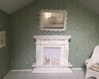 Shabby Chic dollhouse fireplace mantel set  - Free Shipping to the US