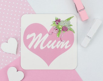 Mum Heart Magnet, Mothers Day Gift for Mum, Mummy gift from the kids, Mother Birthday gift Mom, Floral Gardening gift, Flower Garden gift