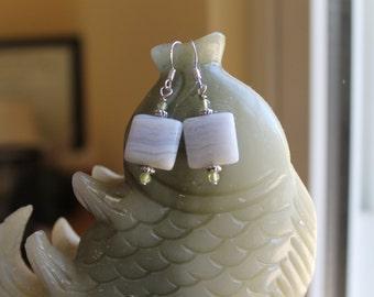Beautiful Blue Chalcedony with Green Garnet Earrings, sterling silver hook