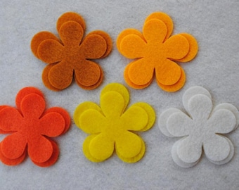 30 Piece Die Cut Felt Flowers, Yellow and Orange, Flower Style No. 5A