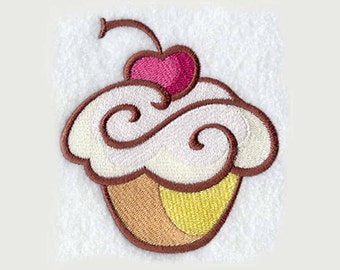 Cherry Cupcake Tea Towel | Embroidered Kitchen Towel | Embroidered Towel | Embroidered Tea Towel | Personalized Kitchen Towel | Hand Towel