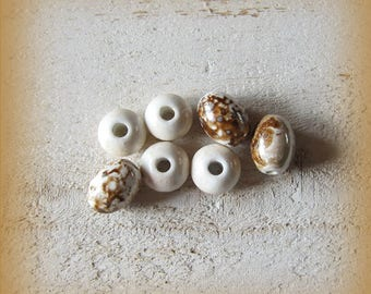 Set of Handpainted porcelain beads