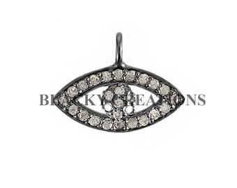 925 Sterling Silver .21 ct Pave Diamond Evil Eye Charms Pendant, Evil Eye Charms Pendant Finding