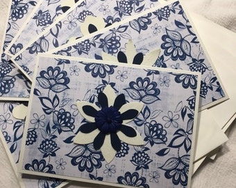 Handmade Greeting Card -Pack of 6 Flower Blank Greeting Cards