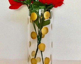 Polka Dot Cylinder Vase, Wedding Centerpiece, Candle Holder, Flower Vase,Home Decor, Birthday Party Vase, CUSTOMIZABLE.