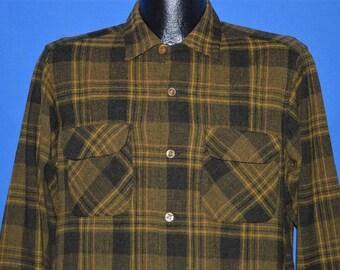 50s Brown Wool Loop Collar Plaid shirt Small
