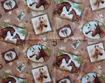 Fabric cotton pillows 55 x 46 cm horses
