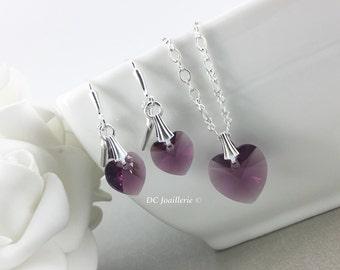 Swarovski Heart Pendant Necklace Crystal Necklace Amethyst Heart Necklace  Bridesmaid Necklace Flower Girl Gift Gift for Her