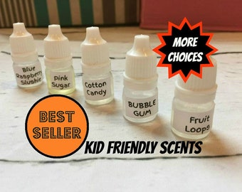 Slime Scents for Sime Sample size cheap fragrance oil kit Birthday Cake Cotton Candy Bubble Gum Fruit loops pink sugar cookie  slushie