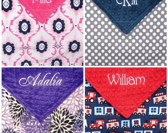 Minky Baby Blanket , Personalized Baby Blankets , Handmade Embroidered Minky Blanket,  for Baby Boy or Baby Girl - Design Your Own -  30x36