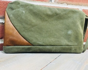 Leather Clutch,Leather Wristlet, Leather and Army Green bag, Anniversary Gift, Leather Purse, Leather and Canvas Wristlet