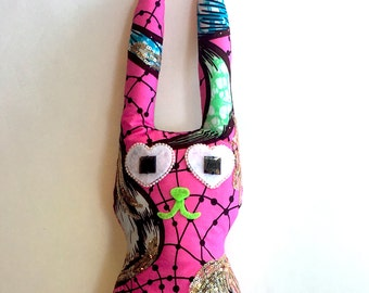 Pink African Print Stuffed Animal Bunny Rabbit