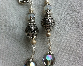 Classy bohemian earrings with white opal and Paradise Shine crystal from Swarovski