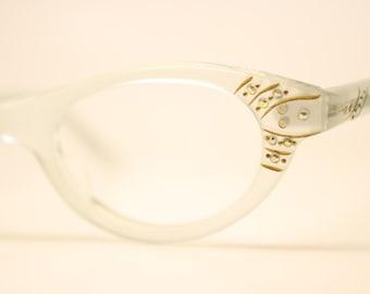 Unused White Rhinestone cat eye glasses  vintage cateye eyeglasses frames