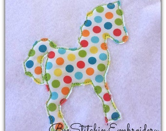 Pony Raggy Applique - Embroidery Design - 4x4 5x7 6x10 instant download