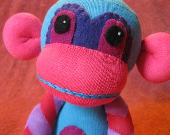 Blast - Best Friend Sock Monkey Plush - Blue Chevron Stripes Pink - Handmade Doll