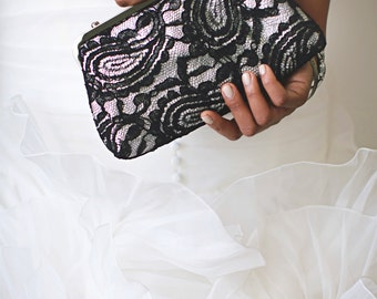 Black & Grey Alencon Paisley Lace Clutch | Bridal Clutch | Personalized Gift for Mom