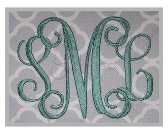 "Interlocking Vine Monogram Set –3.5"" 4"" 4.5"" 5"" 5.5""- Machine Embroidery Fonts Script Embroidery Monogram Font 11 Formats - Instant Download"
