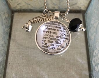 Writer Dictionary Charm Necklace. Gift for Writers.