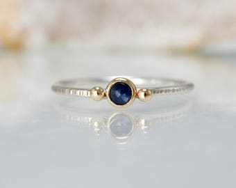 rose cut sapphire stacking ring, mixed metal stone ring, recycled gold stacking ring,  Rachel Wilder Handmade Jewelery