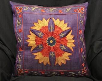 Handmade Suzani Silk Pillowcase, Suzani Cushion, Uzbek Suzani, Decorative pillows
