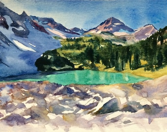 Mountain painting, Lewis lake, North Cascades, Northwest landscape, Pacific Northwest, Washington, Northwest art, landscape watercolor
