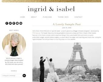 "Blogger Template Premade Blog Theme Design - ""Ingrid & Isabel"" Instant Digital Download, Black, Simple and Chic"