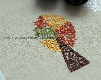 Autumn Tree Digital Embroidery Pattern Unique Machine Embroidery Pattern Doodle Stitching like a hand stitching . Instant download