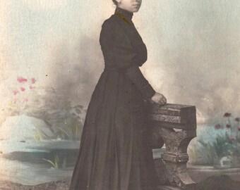 ON SALE 20% OFF Vintage woman postcard .