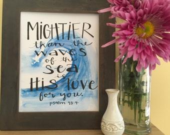 Bible Verse Art, Christian Art, Baby Shower, Nursery Art, Mightier than the Waves of the Sea, Psalm Handmade Watercolor Print