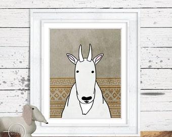 Mountain Goat Illustration Children's Art Printable - Instant Download 8x10