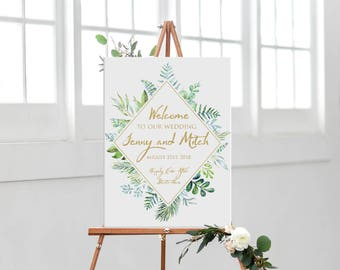 Wedding welcome sign printable personalized, custom greenery and gold wedding welcome sign DIGITAL, welcome wedding or bridal shower sign