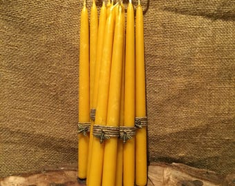 Small Pure Beeswax Candles. Pure Beeswax Tapers. Hand Dipped Pure Beeswax Taper Candles. Small